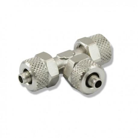 """Trójnik metalowy """"T"""" z nakrętkami - na wężyk 6mm"""