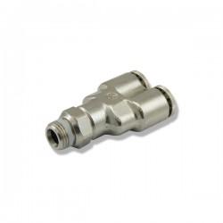 """Trójnik metalowy """"Y"""" z GZ 1/8 - na wężyk 6mm"""